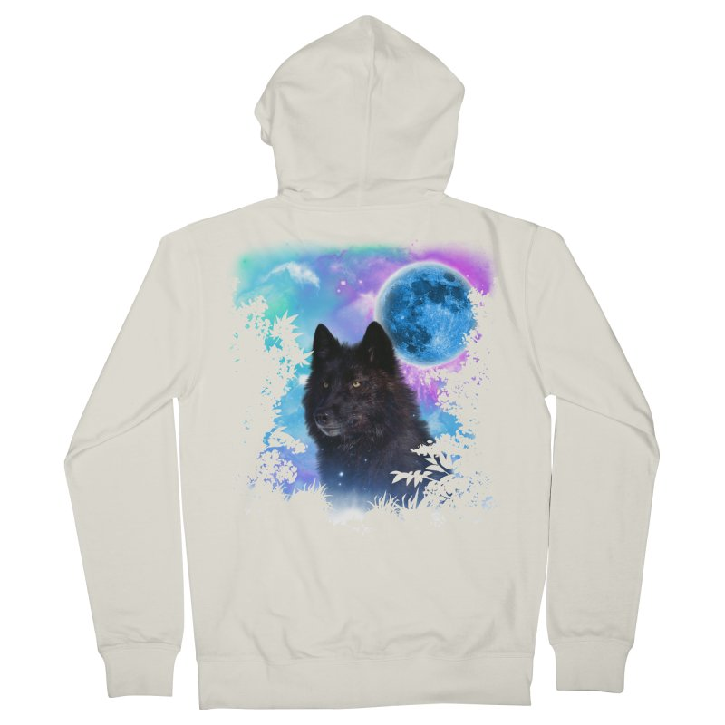 Black Wolf MidNight Forest edit Women's Zip-Up Hoody by ratherkool's Artist Shop