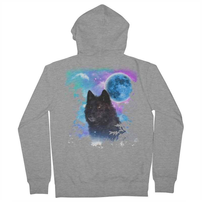 Black Wolf MidNight Forest edit Men's Zip-Up Hoody by ratherkool's Artist Shop