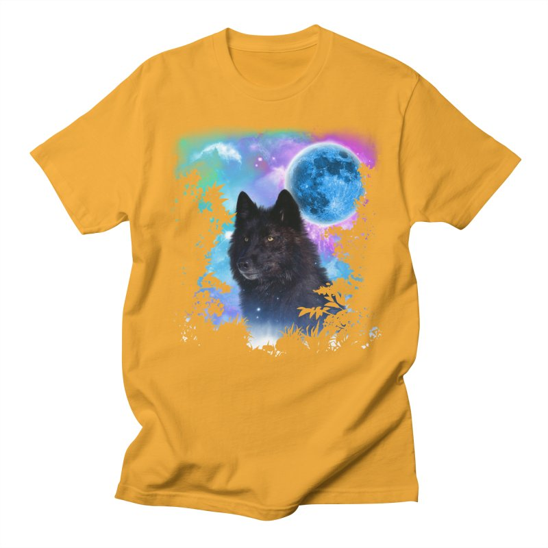 Black Wolf MidNight Forest edit Men's T-shirt by ratherkool's Artist Shop
