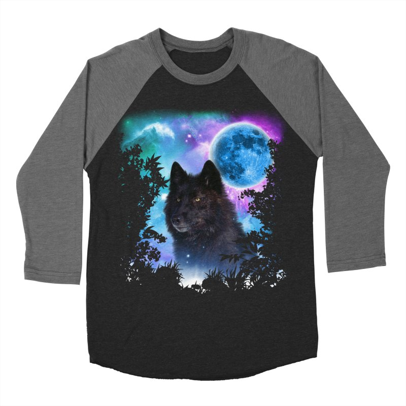 Black Wolf MidNight Forest edit Men's Baseball Triblend T-Shirt by ratherkool's Artist Shop