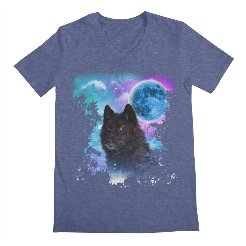Black Wolf MidNight Forest edit Men's V-Neck by ratherkool's Artist Shop