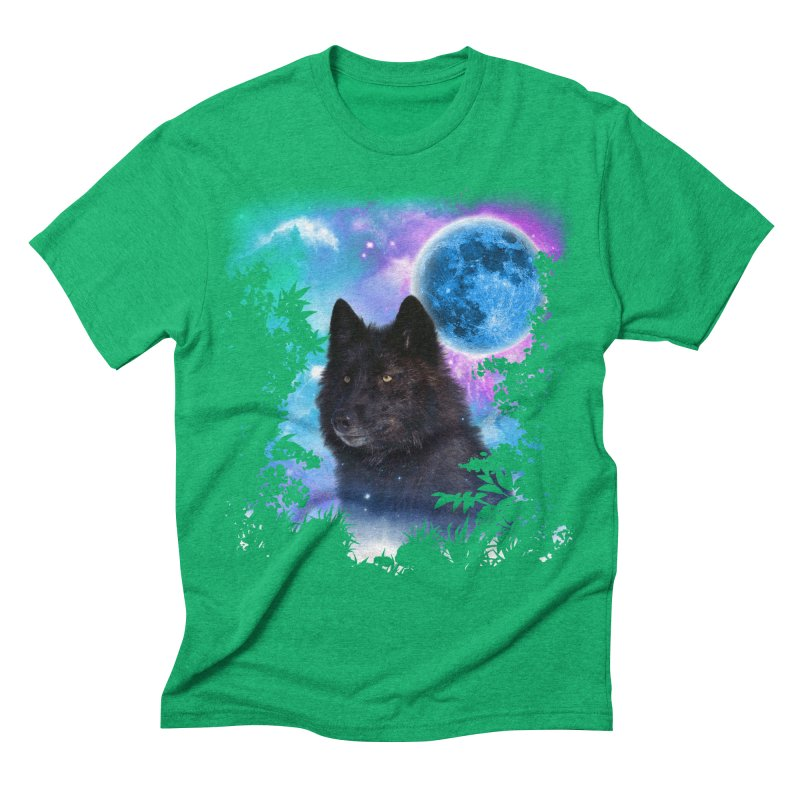 Black Wolf MidNight Forest edit Men's Triblend T-shirt by ratherkool's Artist Shop