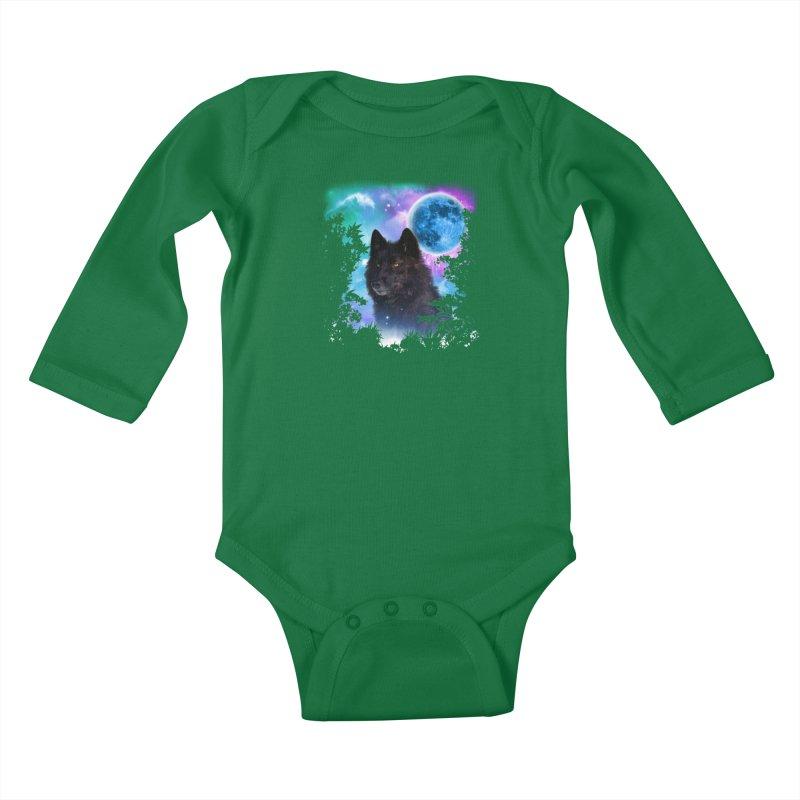 Black Wolf MidNight Forest edit Kids Baby Longsleeve Bodysuit by ratherkool's Artist Shop