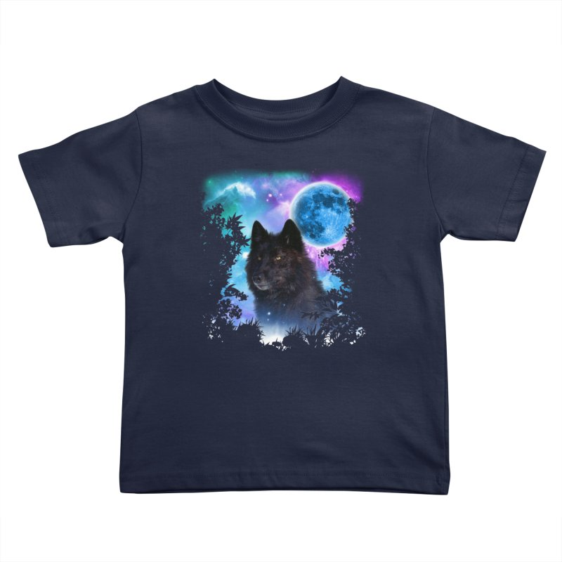 Black Wolf MidNight Forest edit Kids Toddler T-Shirt by ratherkool's Artist Shop