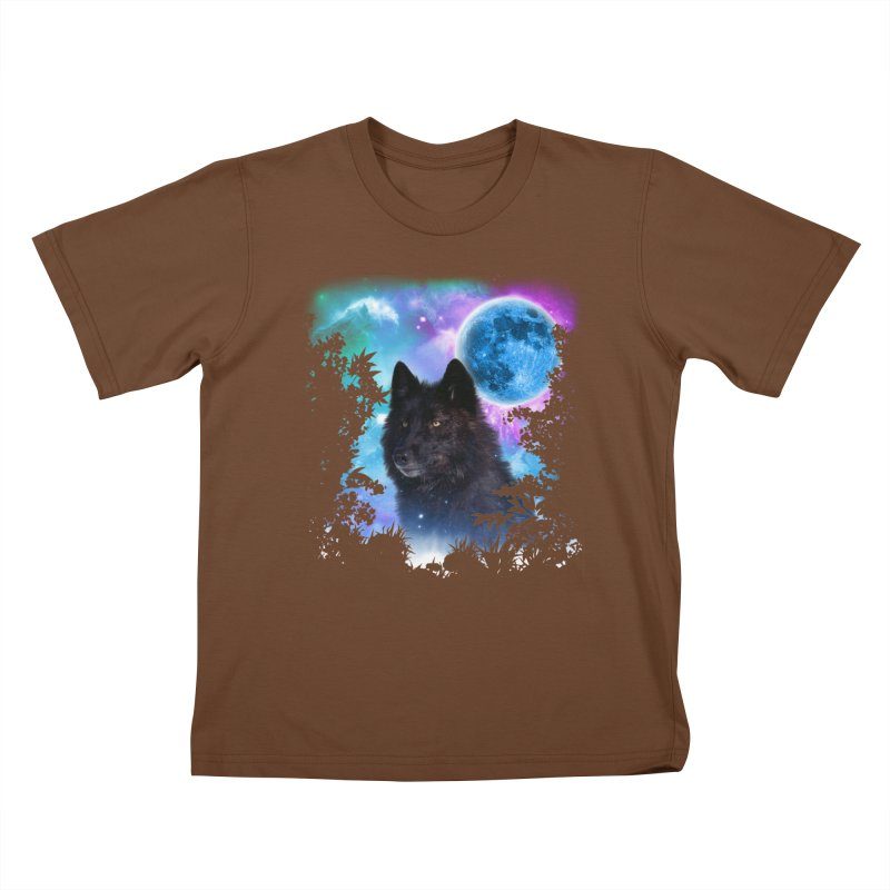 Black Wolf MidNight Forest edit Kids T-shirt by ratherkool's Artist Shop