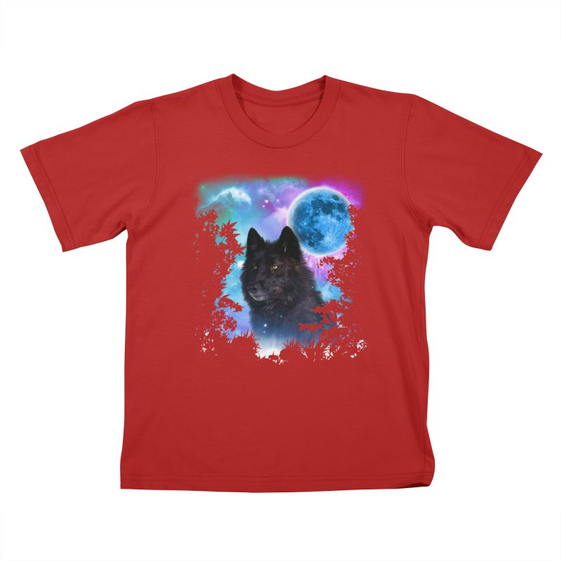 Black Wolf MidNight Forest edit Kids T-shirt by ratherkool's Artist Shop