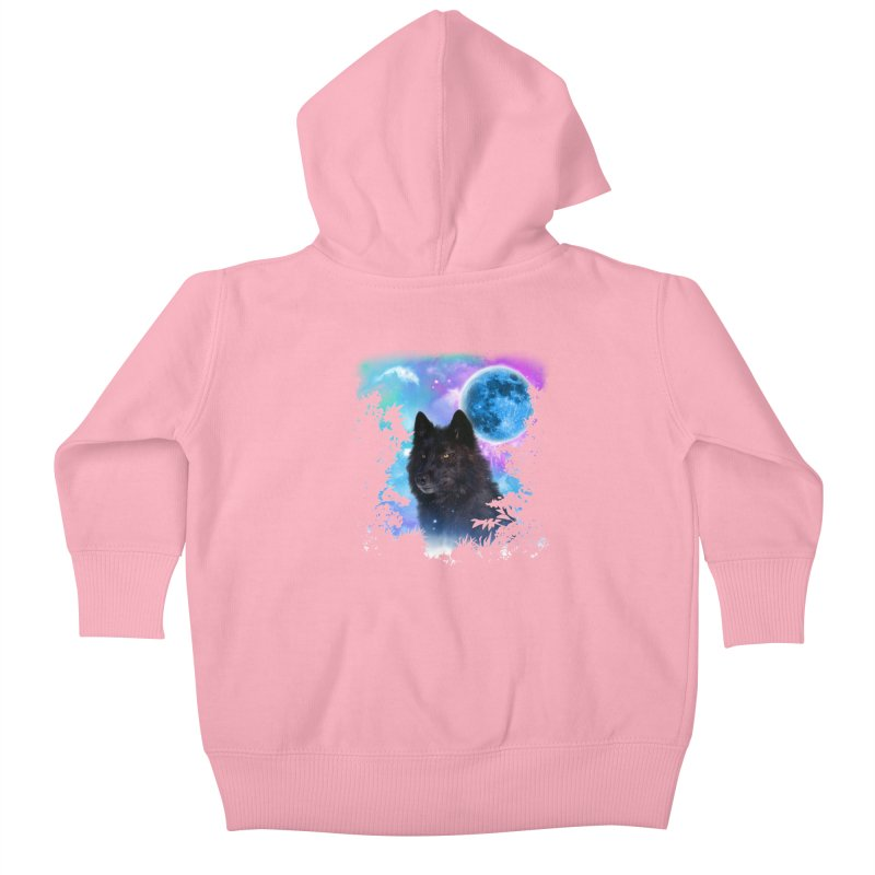 Black Wolf MidNight Forest edit Kids Baby Zip-Up Hoody by ratherkool's Artist Shop