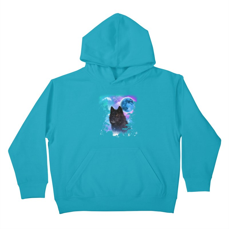 Black Wolf MidNight Forest edit Kids Pullover Hoody by ratherkool's Artist Shop