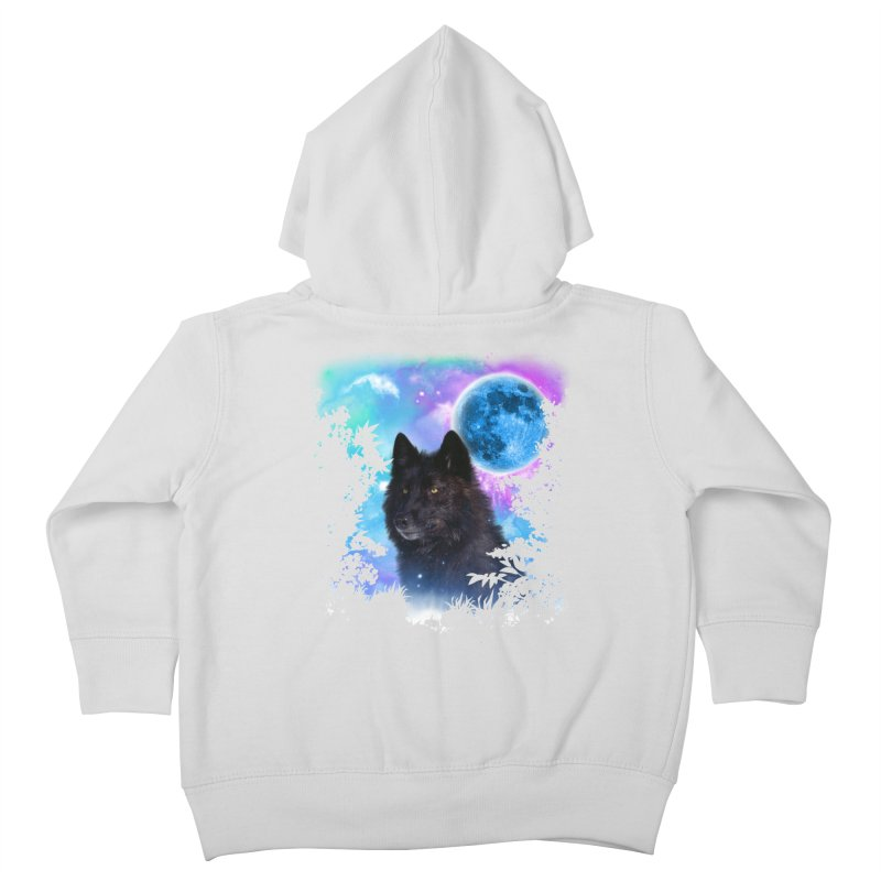 Black Wolf MidNight Forest edit Kids Toddler Zip-Up Hoody by ratherkool's Artist Shop