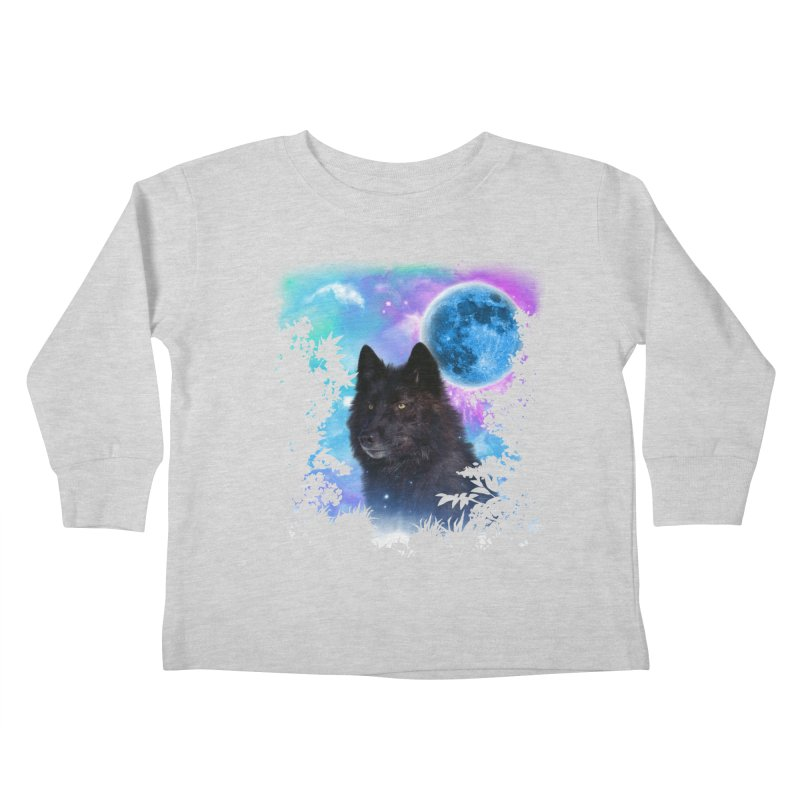 Black Wolf MidNight Forest edit Kids Toddler Longsleeve T-Shirt by ratherkool's Artist Shop