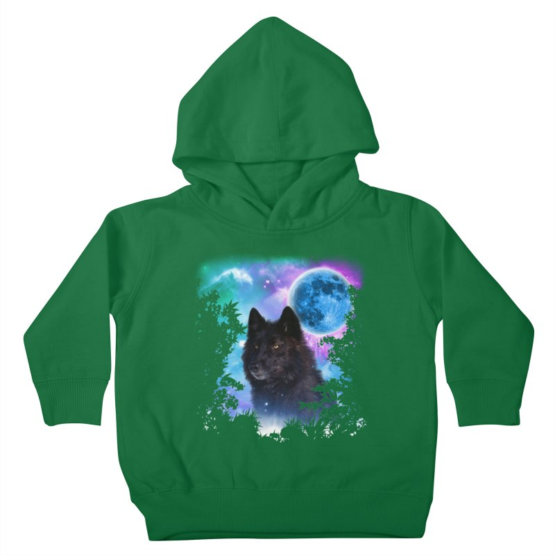Black Wolf MidNight Forest edit Kids Toddler Pullover Hoody by ratherkool's Artist Shop