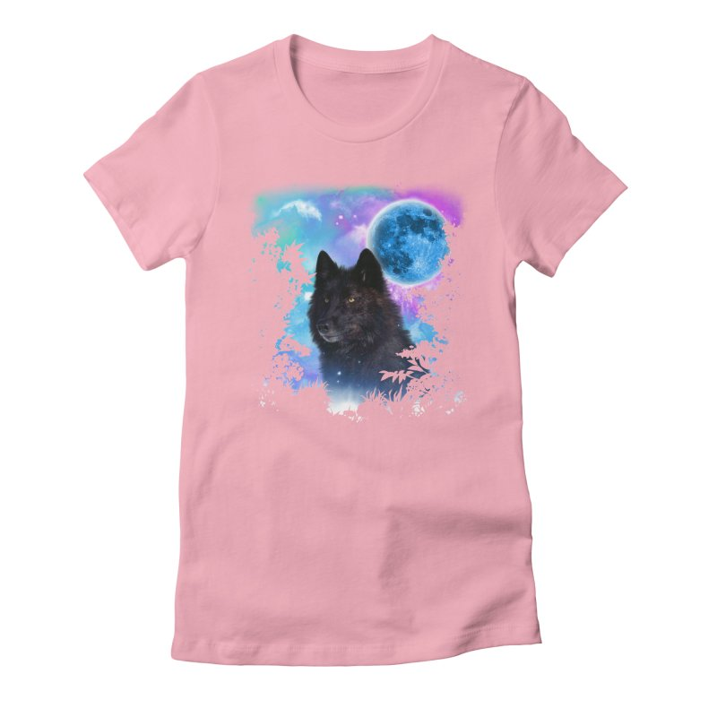 Black Wolf MidNight Forest edit Women's Fitted T-Shirt by ratherkool's Artist Shop