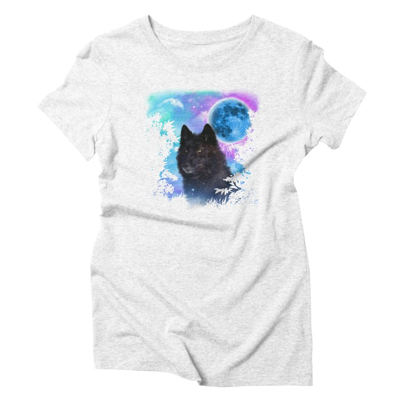 Black Wolf MidNight Forest edit Women's Triblend T-shirt by ratherkool's Artist Shop