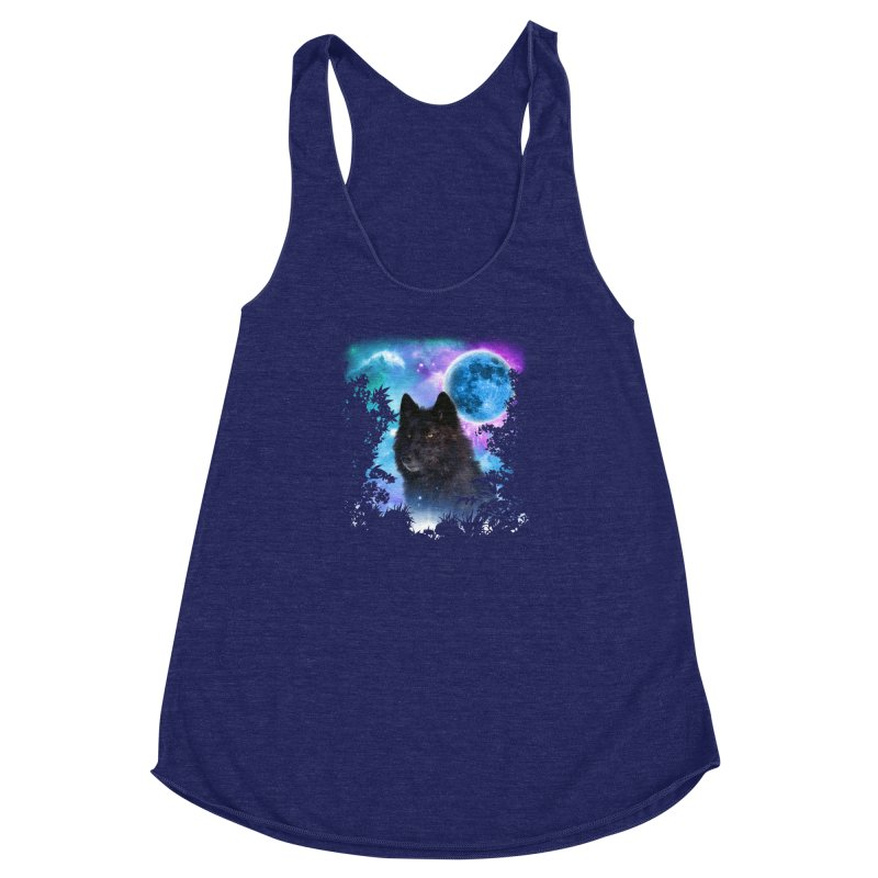 Black Wolf MidNight Forest edit Women's Racerback Triblend Tank by ratherkool's Artist Shop