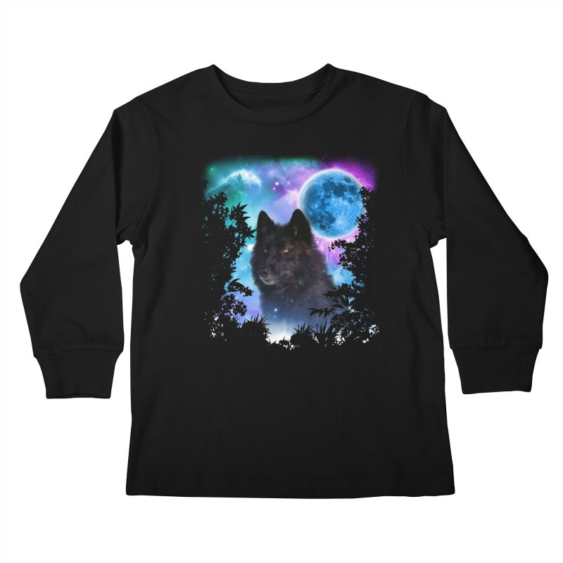 Black Wolf MidNight Forest edit Kids Longsleeve T-Shirt by ratherkool's Artist Shop