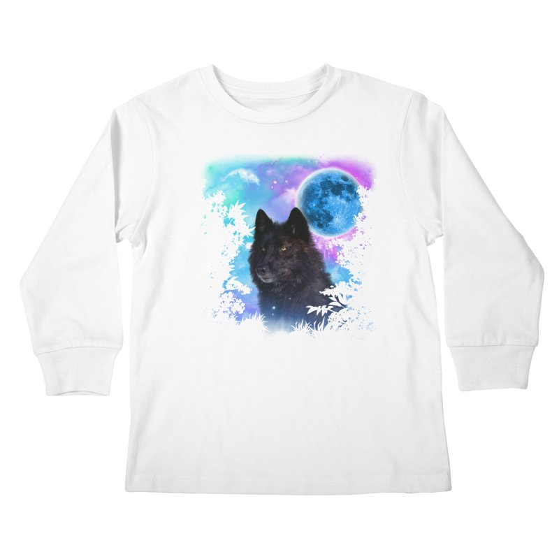 Black Wolf MidNight Forest edit Kids Longsleeve T-Shirt by ratherkool's Artist Shop