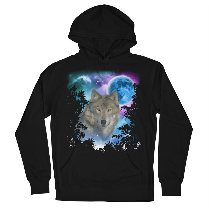 Grey Wolf MidNight Forest Women's Pullover Hoody by ratherkool's Artist Shop