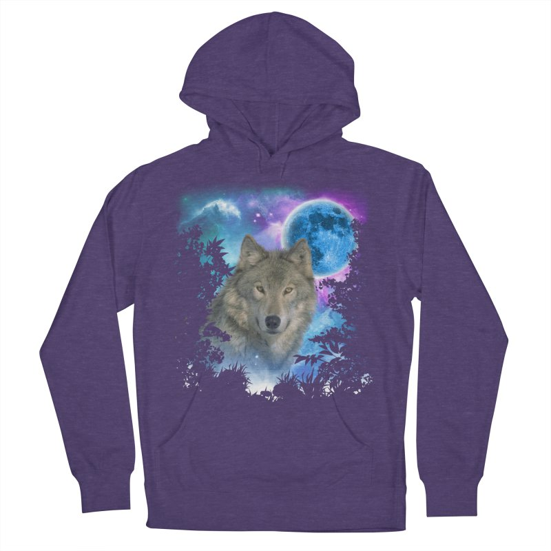 Grey Wolf MidNight Forest Men's Pullover Hoody by ratherkool's Artist Shop