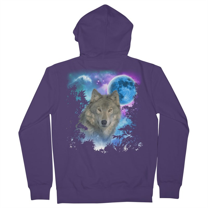 Grey Wolf MidNight Forest Women's Zip-Up Hoody by ratherkool's Artist Shop