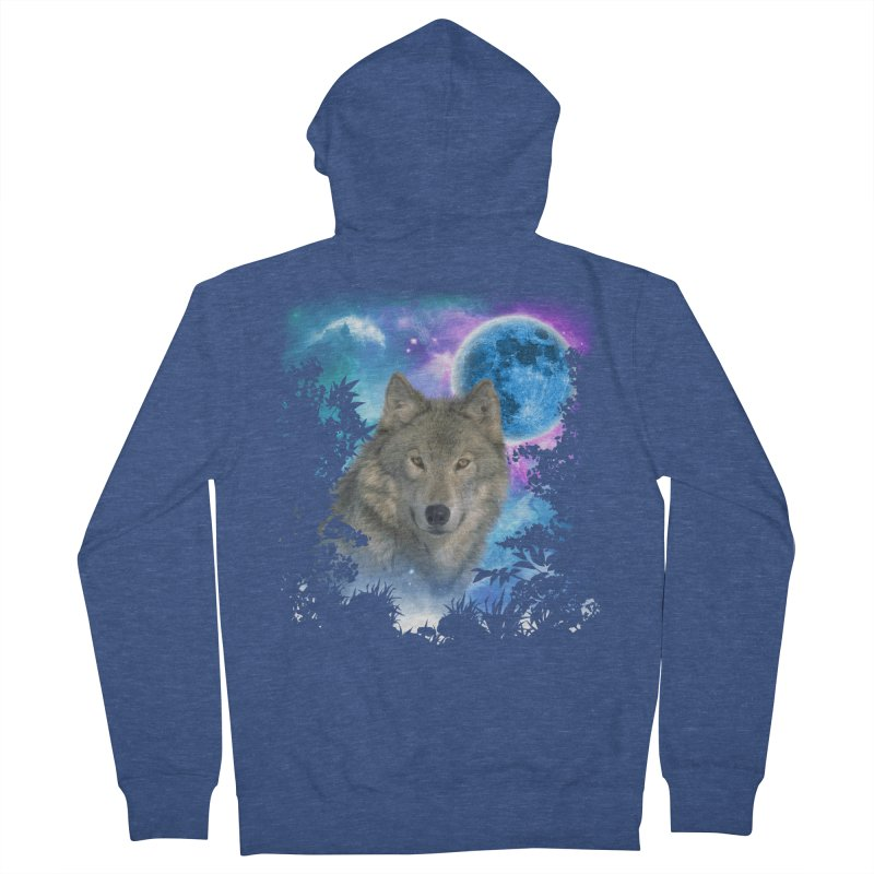 Grey Wolf MidNight Forest Men's Zip-Up Hoody by ratherkool's Artist Shop