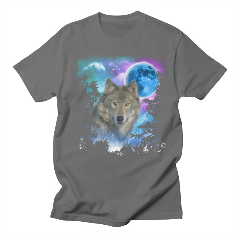 Grey Wolf MidNight Forest Men's T-shirt by ratherkool's Artist Shop
