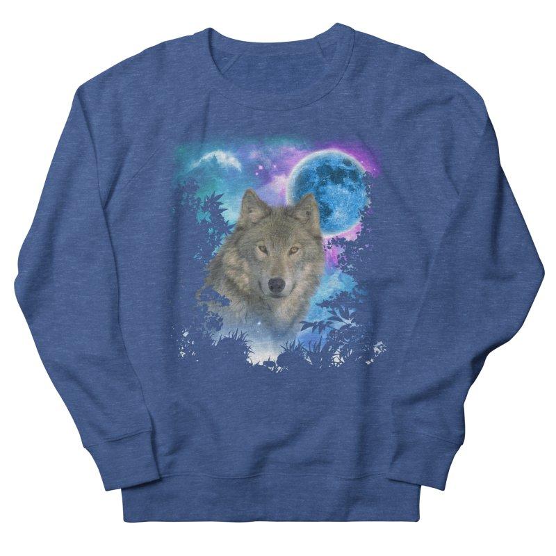 Grey Wolf MidNight Forest Men's Sweatshirt by ratherkool's Artist Shop