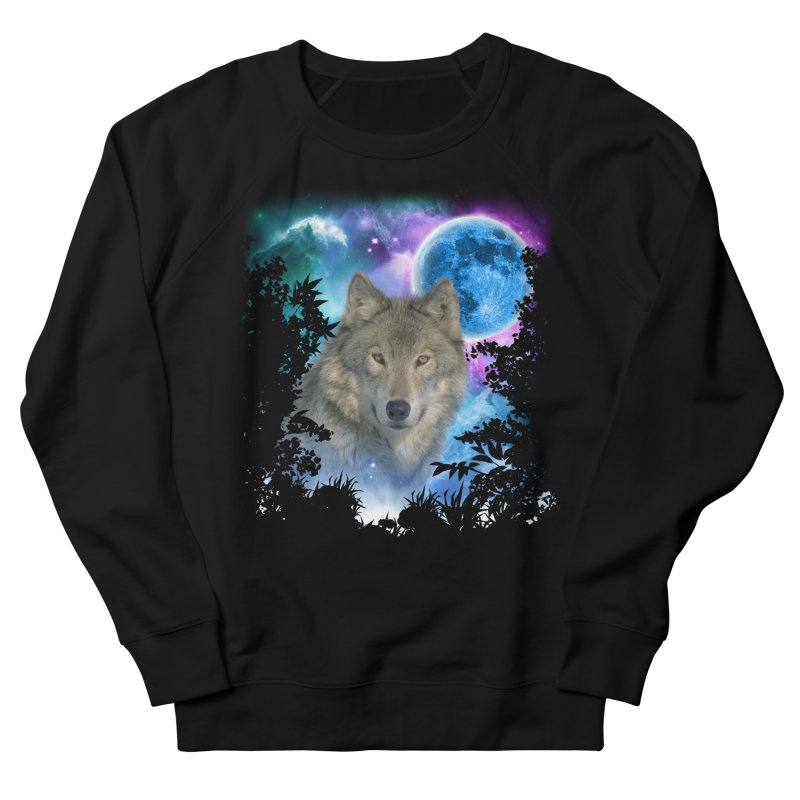 Grey Wolf MidNight Forest Men's Sweatshirt by ratherkool's Artist Shop