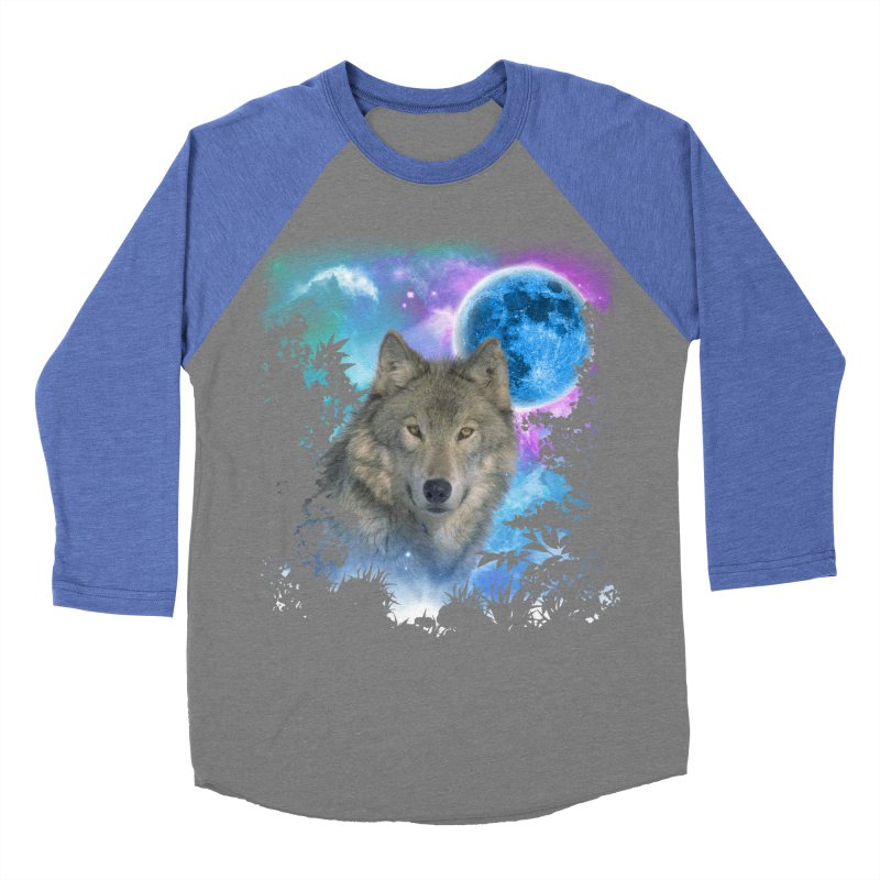Grey Wolf MidNight Forest Women's Baseball Triblend T-Shirt by ratherkool's Artist Shop