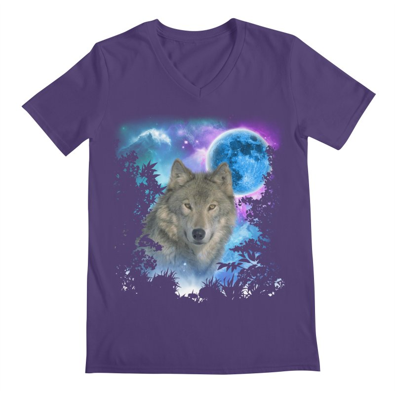 Grey Wolf MidNight Forest Men's V-Neck by ratherkool's Artist Shop