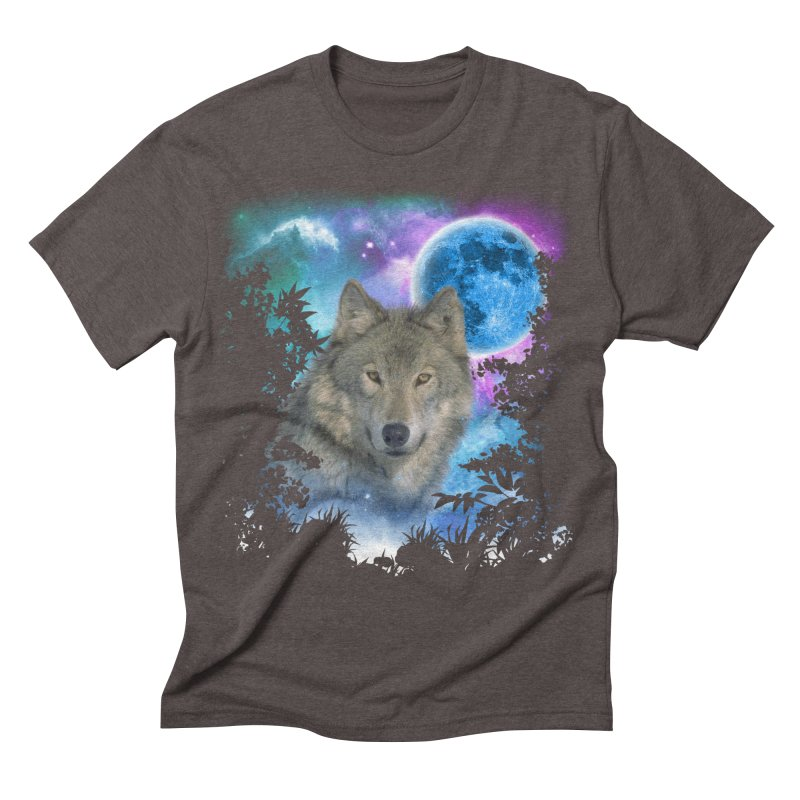 Grey Wolf MidNight Forest Men's Triblend T-shirt by ratherkool's Artist Shop