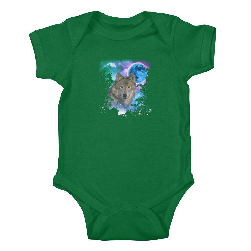 Grey Wolf MidNight Forest Kids Baby Bodysuit by ratherkool's Artist Shop
