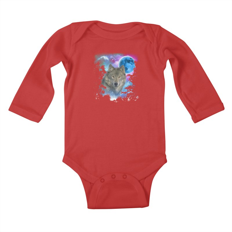 Grey Wolf MidNight Forest Kids Baby Longsleeve Bodysuit by ratherkool's Artist Shop