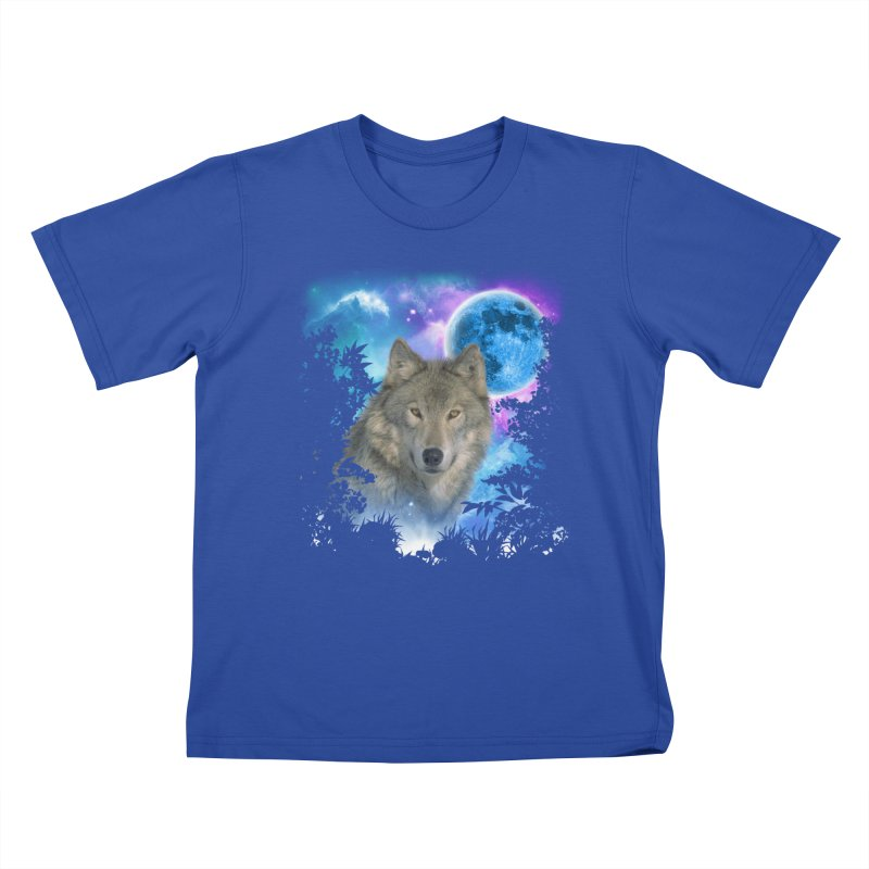 Grey Wolf MidNight Forest Kids T-shirt by ratherkool's Artist Shop