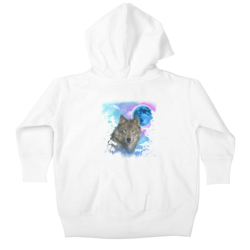 Grey Wolf MidNight Forest Kids Baby Zip-Up Hoody by ratherkool's Artist Shop