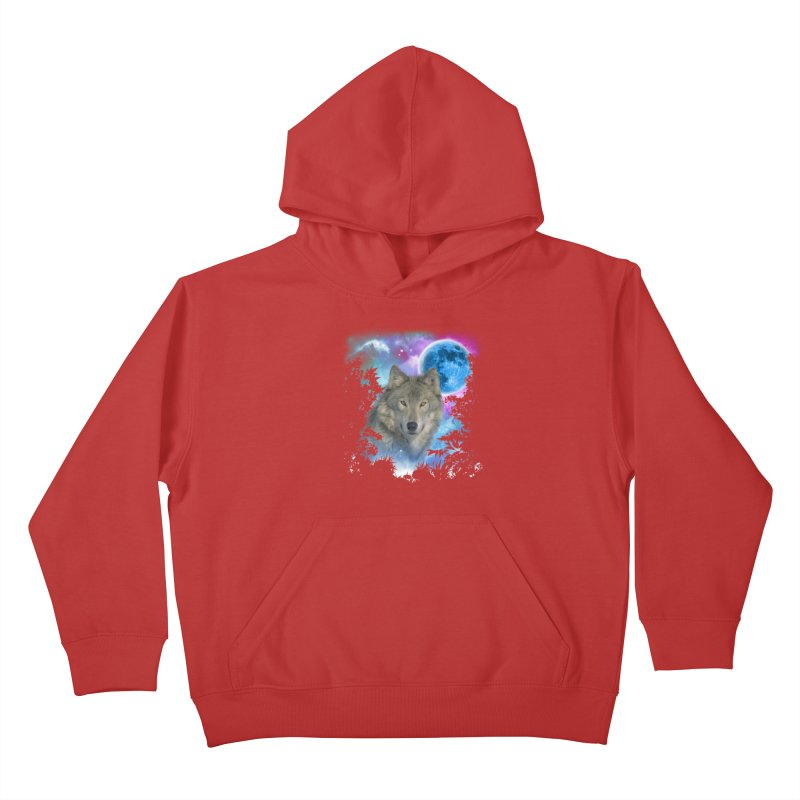 Grey Wolf MidNight Forest Kids Pullover Hoody by ratherkool's Artist Shop