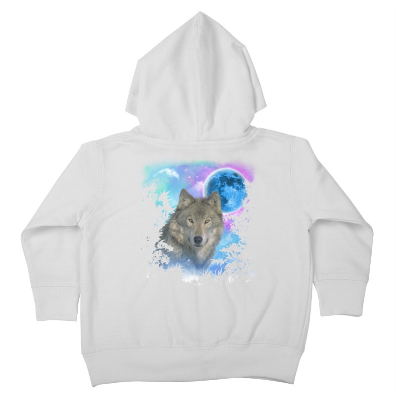 Grey Wolf MidNight Forest Kids Toddler Zip-Up Hoody by ratherkool's Artist Shop