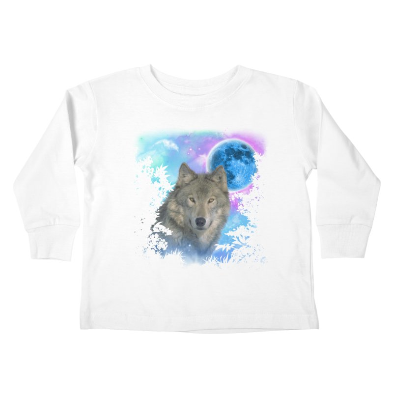 Grey Wolf MidNight Forest Kids Toddler Longsleeve T-Shirt by ratherkool's Artist Shop
