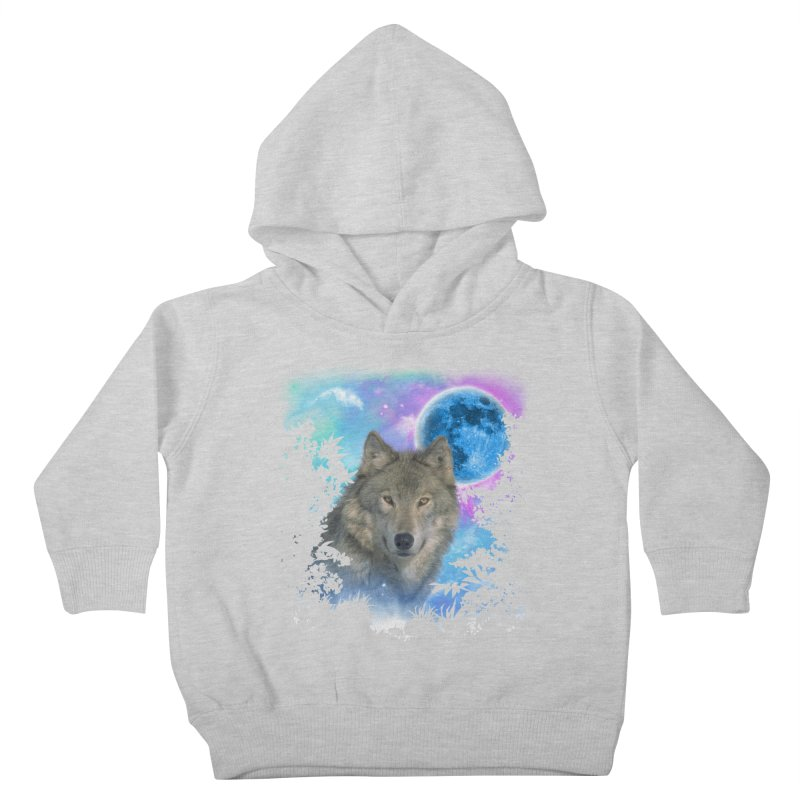 Grey Wolf MidNight Forest Kids Toddler Pullover Hoody by ratherkool's Artist Shop