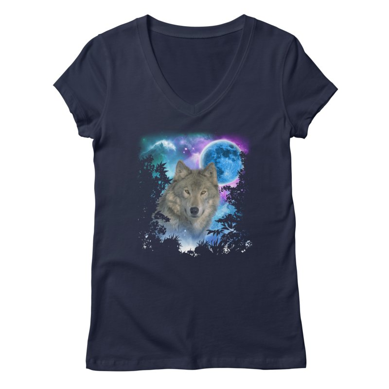 Grey Wolf MidNight Forest Women's V-Neck by ratherkool's Artist Shop