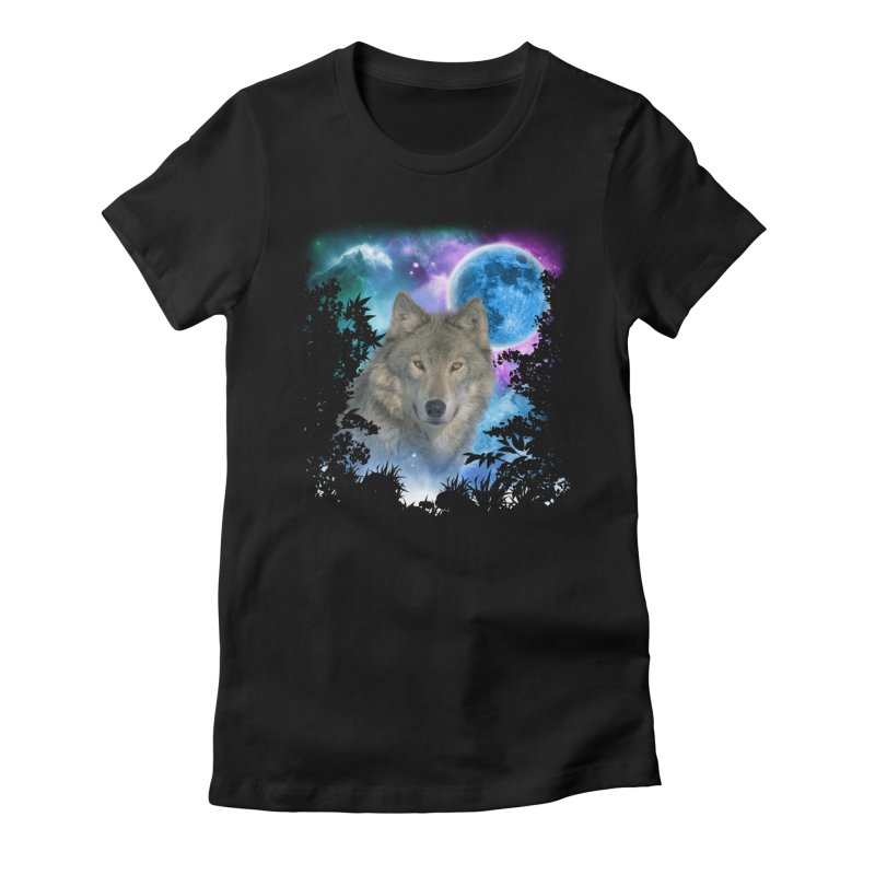 Grey Wolf MidNight Forest Women's Fitted T-Shirt by ratherkool's Artist Shop