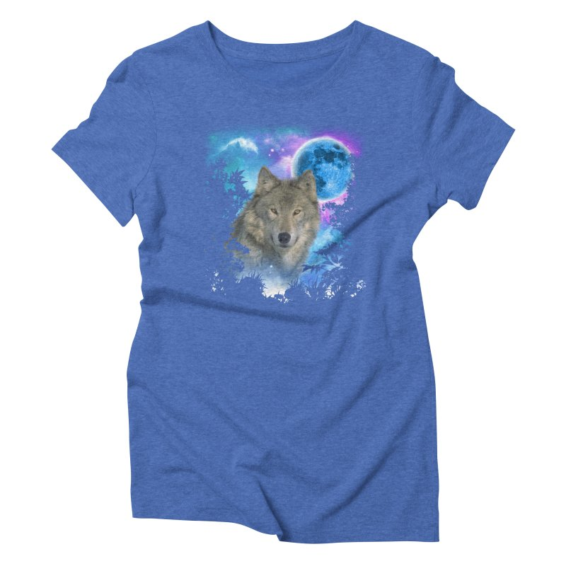 Grey Wolf MidNight Forest Women's Triblend T-shirt by ratherkool's Artist Shop