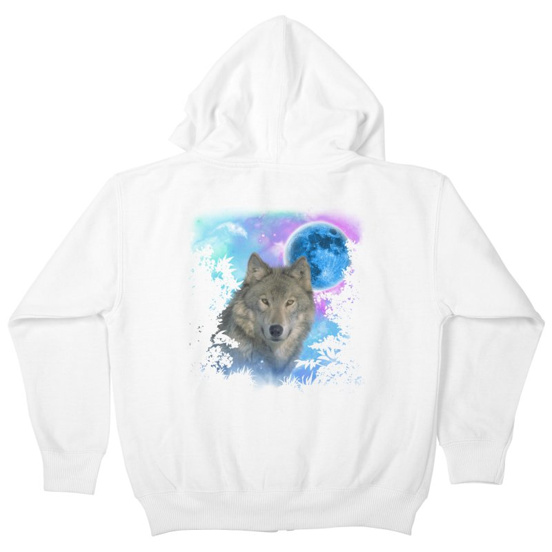 Grey Wolf MidNight Forest Kids Zip-Up Hoody by ratherkool's Artist Shop