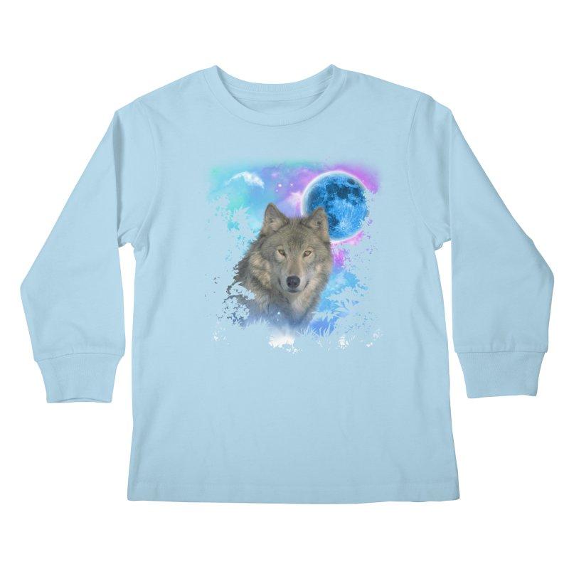 Grey Wolf MidNight Forest Kids Longsleeve T-Shirt by ratherkool's Artist Shop