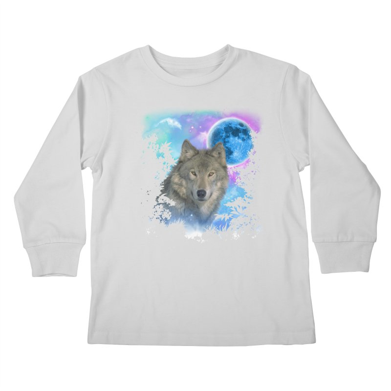 Grey Wolf MidNight Forest Kids Longsleeve T-Shirt by ratherkool's Artist Shop