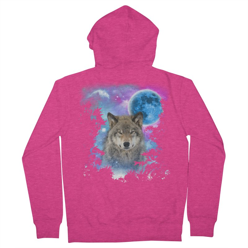 Timber Wolf MidNight Forest Women's Zip-Up Hoody by ratherkool's Artist Shop