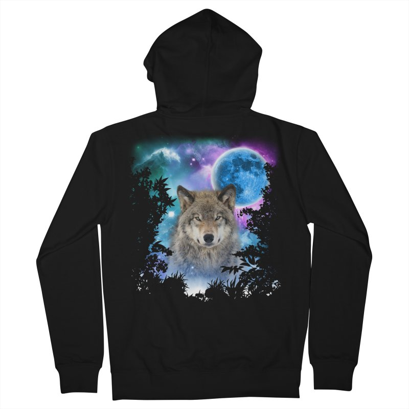 Timber Wolf MidNight Forest Men's Zip-Up Hoody by ratherkool's Artist Shop