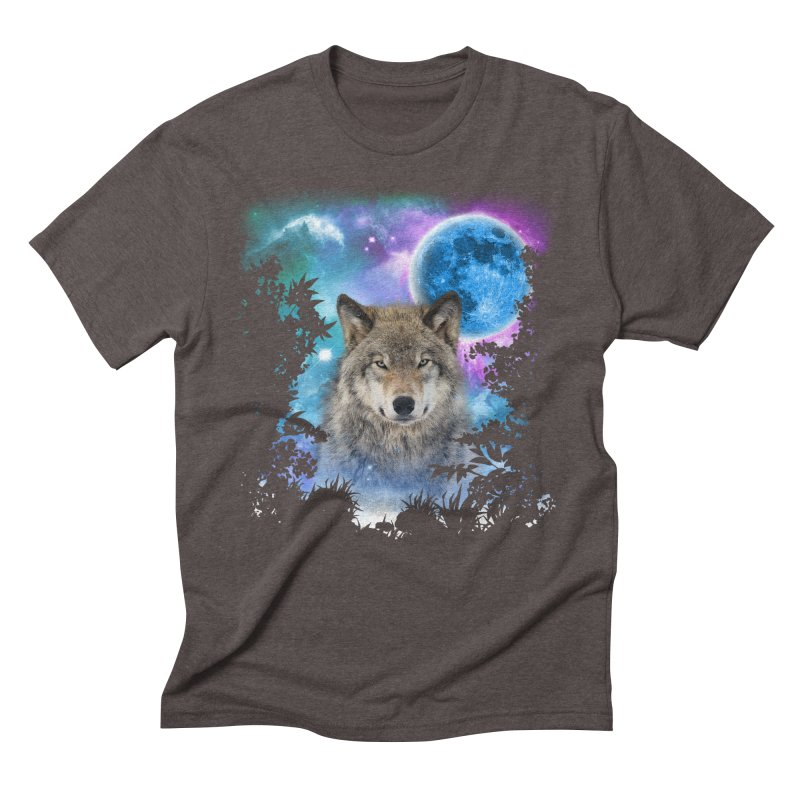 Timber Wolf MidNight Forest Men's Triblend T-shirt by ratherkool's Artist Shop