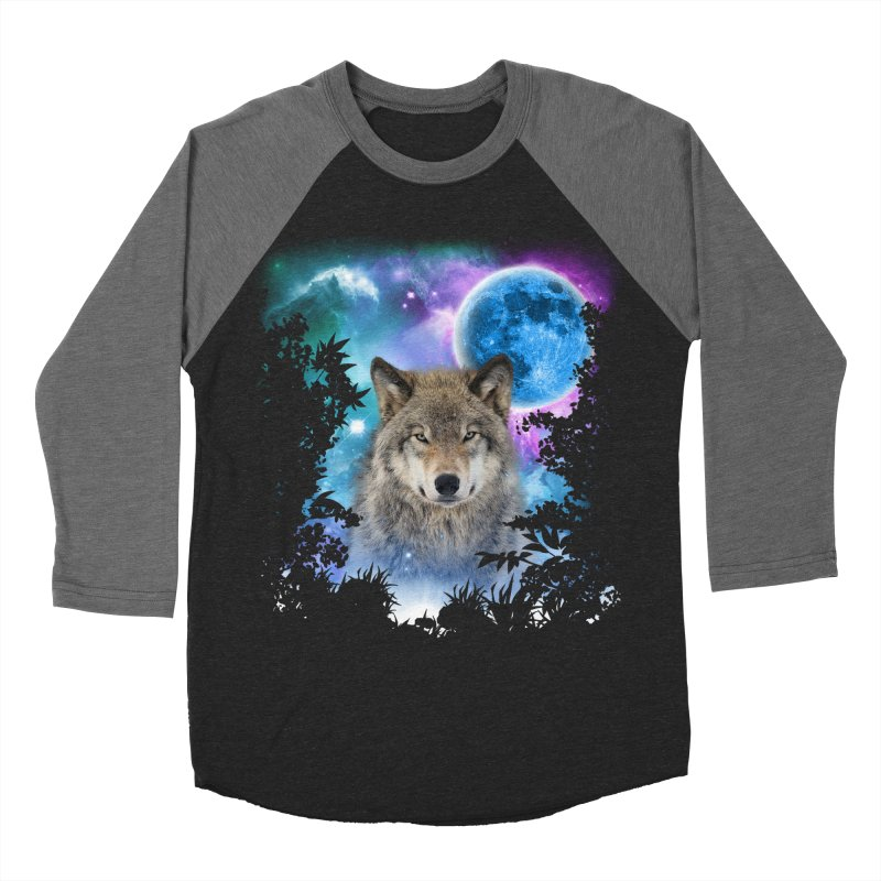 Timber Wolf MidNight Forest Women's Baseball Triblend T-Shirt by ratherkool's Artist Shop
