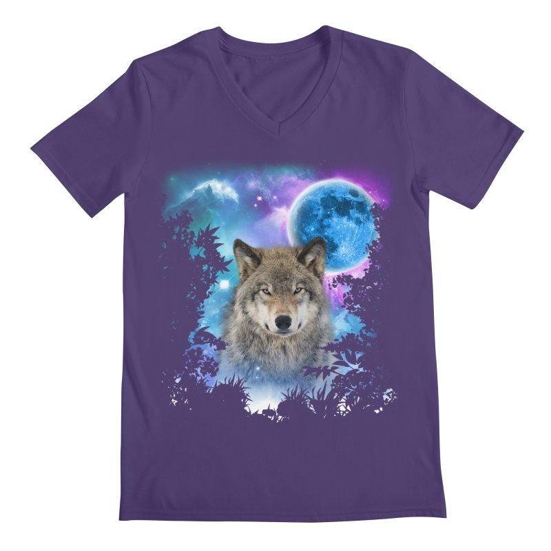 Timber Wolf MidNight Forest Men's V-Neck by ratherkool's Artist Shop