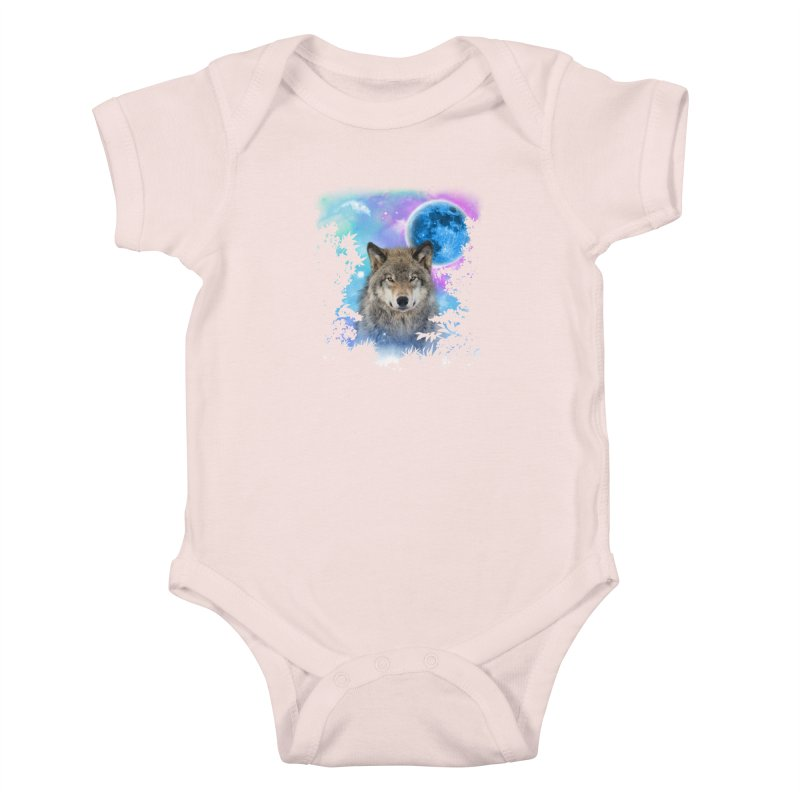 Timber Wolf MidNight Forest Kids Baby Bodysuit by ratherkool's Artist Shop